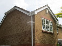 White bargeboard and soffit with square guttering Hedge End