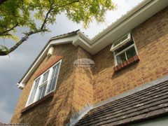 White fascia and soffit with white square guttering in Hedge End