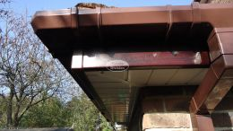 Brown square guttering, Rosewood fascia White soffit