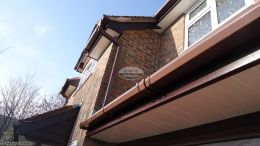 Brown square guttering, Rosewood fascia and White soffit Winchester