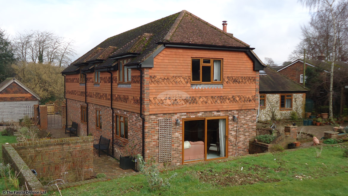 New fascias, soffits and guttering to barn style roof in Alresford