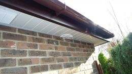 White soffit with Rosewood fascia, Brown square gutters in Winchester, Hampshire