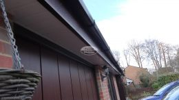 New Replacement Rosewood Fascia Board White Tongue and groove Soffit Black square Guttering In Ashurst, Southampton