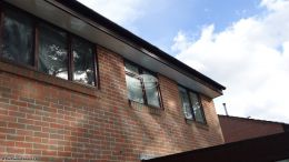Recent Full Replacement 18mm Rosewood Fascia Board White Tongue and groove Soffit Black square Guttering In Ashurst, Southampton.