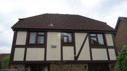 Upvc replacement rosewood fascia boards soffits and brown guttering