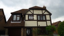 replacement of rosewood fascias soffits halfround brown guttering in Hedge End Southampton