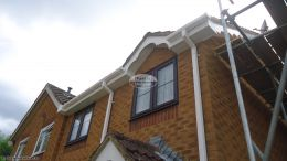 New white UPVC decorative swish fascia board with tongue and groove soffits square line guttering Rownhams Southampton