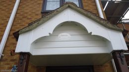 Recent installation of decorative swish fascia board on front porch with shiplap cladding Rownhams Southampton