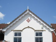 Installation of decorative fascia with GRP roof spire in Hedge End