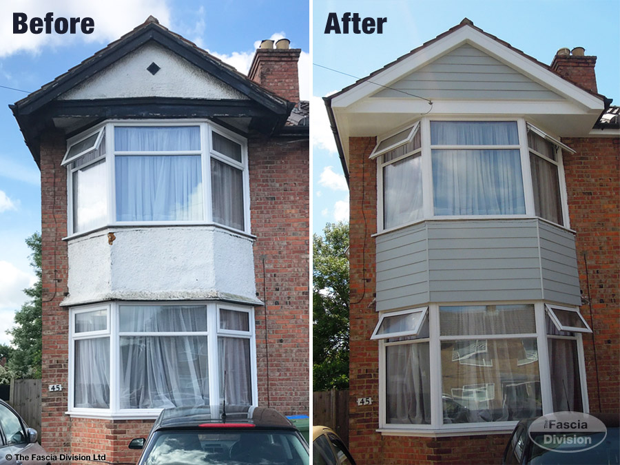 Before and after insatllation of fascia, soffit, guttering and weatherboard cladding