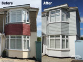 Before and after fibre cement weatherboard cladding install in Hamble