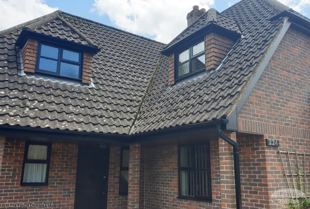 Black UPVC fascias, soffits and guttering