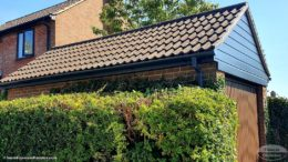 Anthracite fascias and soffits on a garage